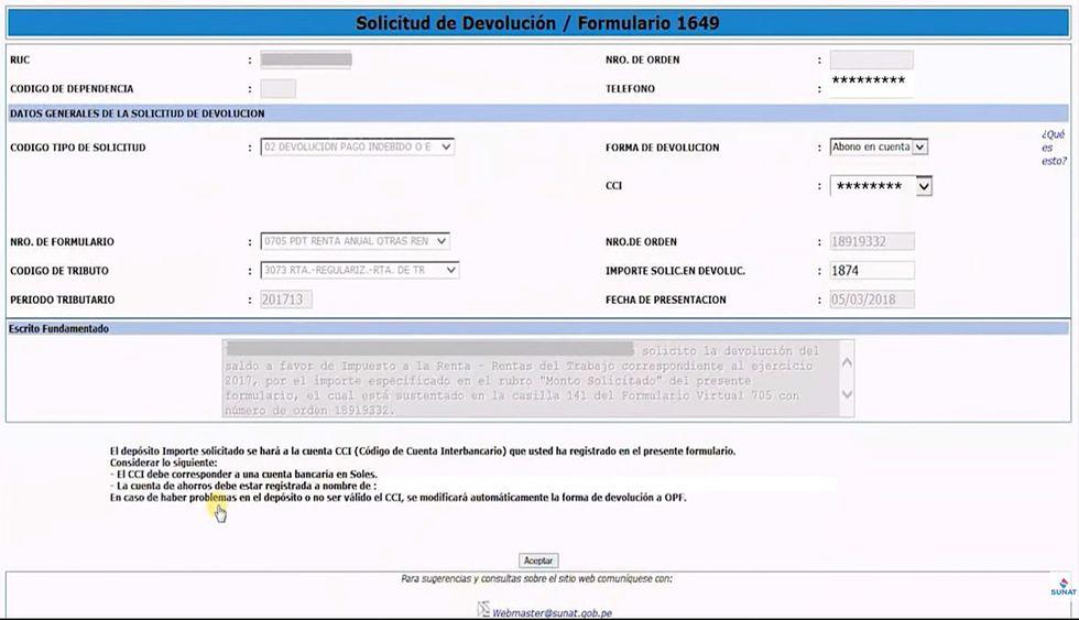 """Si usted desea solicitar la devolución de los saldos a su favor en línea, debe presionar la opción si y dar click en """"Solicitud de Devolución - Rentas de Trabajo"""". Se abrirá una ventana, allí deberá colocar su número de teléfono y elegir la forma de devolución. Si usted desea que la Sunat le haga un depósito, deberá ingresar su código de cuenta interbancario (CCI). Luego hará click en aceptar y obtendrá la constancia de solicitud de devolución, que puede enviar a su correo o imprimir. Recuerde conservar dicho documento para un eventual reclamo ante Sunat. (Foto: Sunat)"""