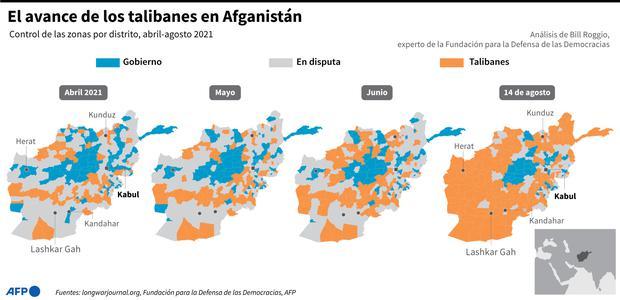 El avance de los talibanes en Afganistán. (AFP).