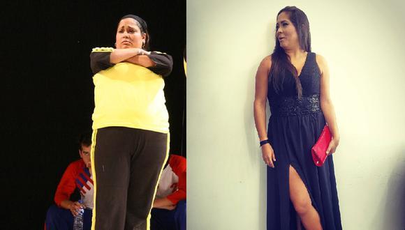Katia Palma antes y después de su radical cambio.