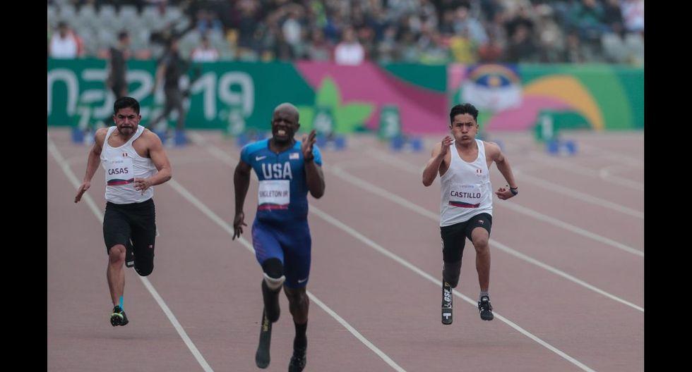 Final de para atletismo compitieron los peruanos Jesús Castillo y José Luis Casas en los 100 m Masculino T64. (Foto : Hugo Pérez)