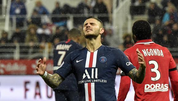 Icardi tampoco pudo anotar ante Lorient por la fecha 22 de la Ligue 1. (Foto: AFP)
