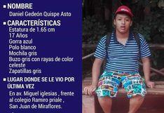 Adolescente con autismo desapareció tras salir de su casa en San Juan de Miraflores