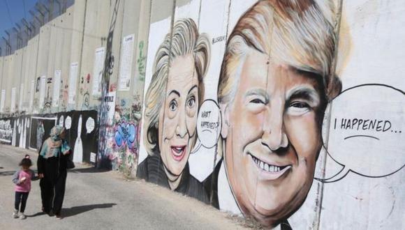 El presidente Donald Trump ha expresado su admiración por el muro construido en la línea divisoria entre Israel y Cisjordania. (Getty Images vía BBC)