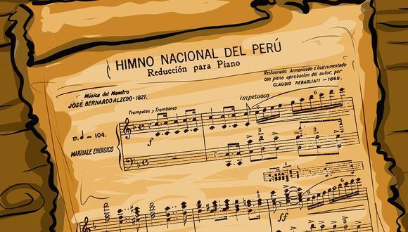 """""""Nuestro Himno Nacional tiene música y estrofas que surgen de la propia nacionalidad y, por eso, la emoción es más intensa, espontánea y sincera"""". (Ilustración: Giovanni Tazza)"""