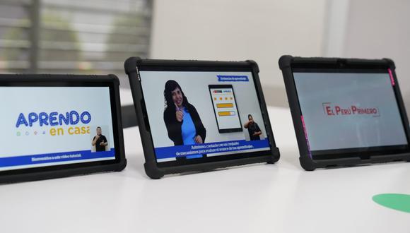 El Gobierno distribuirá de forma gradual las tablets para escolares y docentes de colegios alejados de zonas urbanas y rurales a nivel nacional   Foto: Minedu