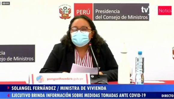 La ministra Solangel Fernández durante su intervención en la conferencia de prensa. (Foto: PCM)
