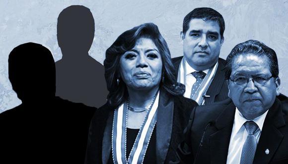 Zoraida Ávalos (Fiscal de la Nación), Pablo Sánchez y Víctor Rodríguez Monteza son los tres fiscales que integran ahora la Junta de Fiscales Supremos. (Composición: El Comercio)