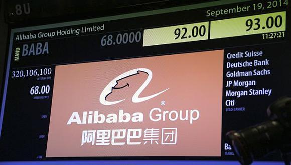 Acciones de Alibaba suben 46% a US$93,5 en debut bursátil