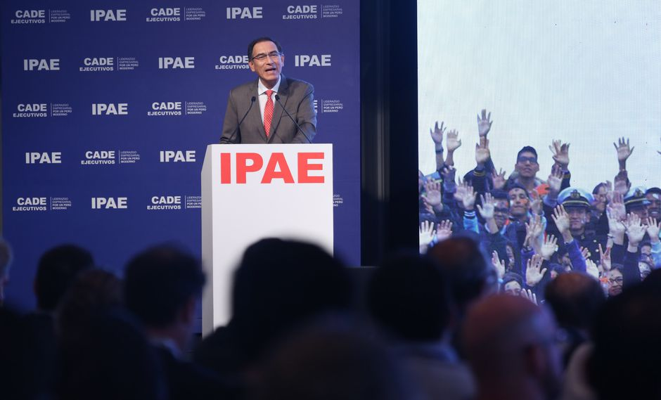 El presidente de la República, Martín Vizcarra, durante su ponencia en el CADE Ejecutivos 2018. (Foto: IPAE)