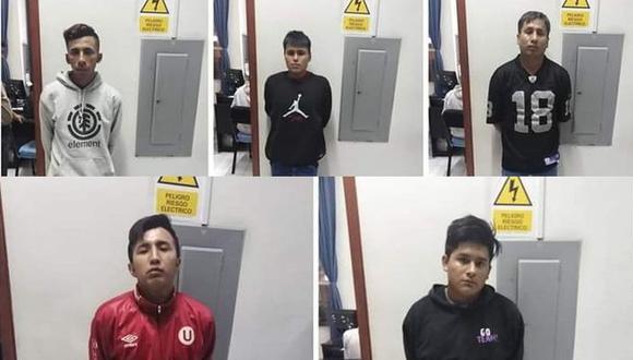 Joan Cabrera Córdova (22), Leonardo Josep Guevara Fernández (21), Jeyson Andrés Rebatta Escate (26), Germán Junior Gutiérrez Gutiérrez (22) e Iván Elvis Melgar Alarcón (28) permanecen detenidos. (GEC)