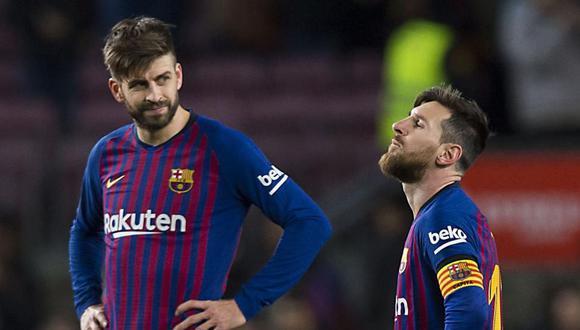 La relación entre Gerard Piqué y Lionel Messi, dos referentes del Barcelona, se habría resquebrajado. (Foto: AFP)