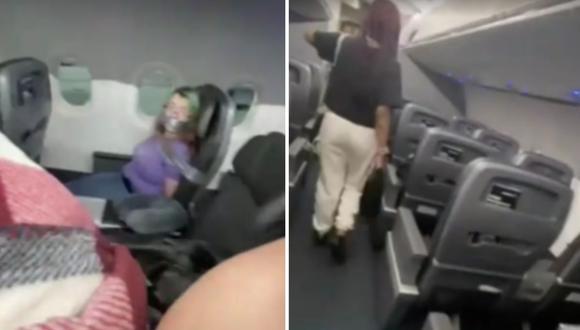 Imagen de una mujer atada con cinta en su asiento de un avión de American Airlines en Estados Unidos. (Captura de video).