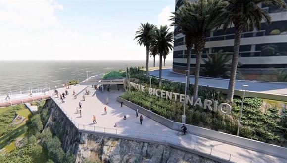 El parque Bicentenario estará ubicado en la bajada Armendáriz y se prevé que la obra sea finalizada antes de julio del 2021. (Foto: Municipalidad de Miraflores)