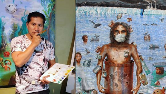 """""""Extinción"""", obra del 2009 que inaugura una serie de pinturas, advierte sobre las consecuencias de la contaminación y la depredación. Es la primera obra en la que Champi hizo alusión a los virus que nos pueden transmitir los animales."""