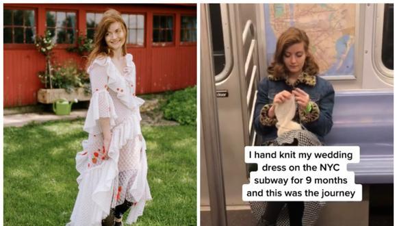 Esther Andrews confecciona su propio vestido de novia durante 9 meses en el trayecto de metro. (Foto: TikTok | estherandrewsbridal)