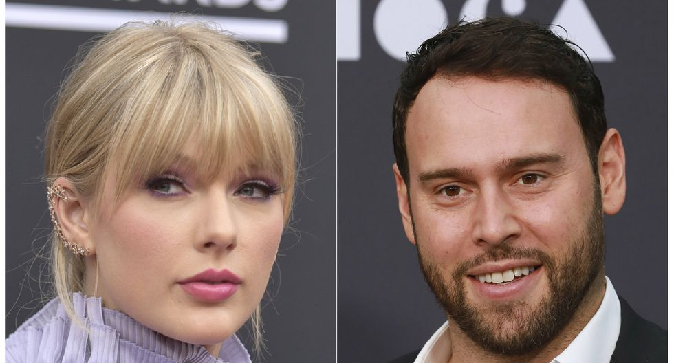 Taylor Swift y Scooter Braun. (Foto: Agencia).