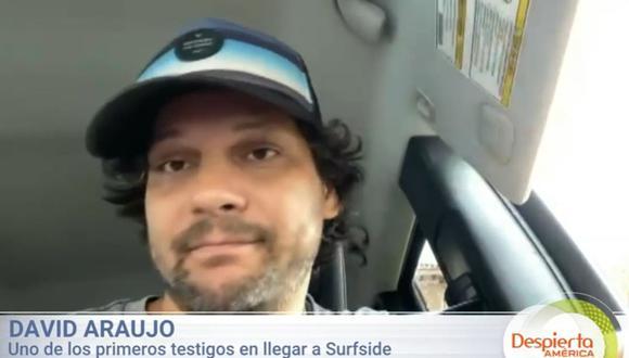 David Araujo, uno de los primeros testigos en llegar a la escena del edificio derrumbado en Miami, Florida (Estados Unidos). (Captura de video/Univisión).