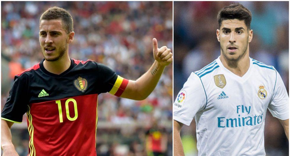 """Un informe de """"Marca"""" reveló que la directiva del Real Madrid, encabezada por Florentino Pérez,  descarta el fichaje de Eden Hazard porque impediría el crecimiento de Marco Asensio. (Foto: AP / EFE)"""