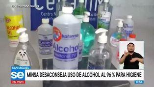 Minsa desaconseja uso de alcohol al 96% para higiene