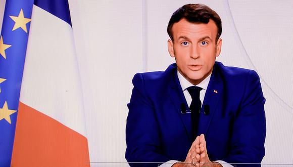 El presidente de Francia, Emmanuel Macron, pronuncia un discurso televisado sobre la pandemia de coronavirus. (Foto: THOMAS COEX / AFP).