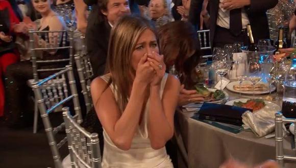 SAG Awards. Jennifer Aniston, en el preciso momento en el que se entera que ganó el premio a Mejor actriz de serie dramática. Foto: TNT.