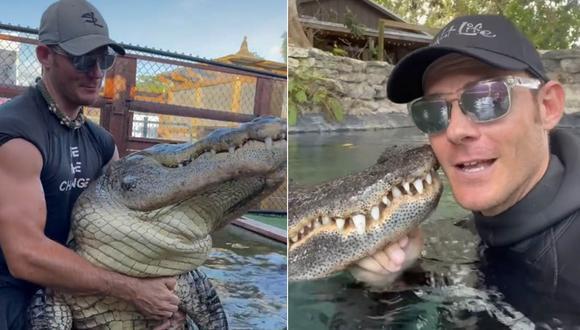 El 'encantador de cocodrilos' ha sorprendido a miles en las redes sociales con sus arriesgados videos. | Foto: @gatorchris1