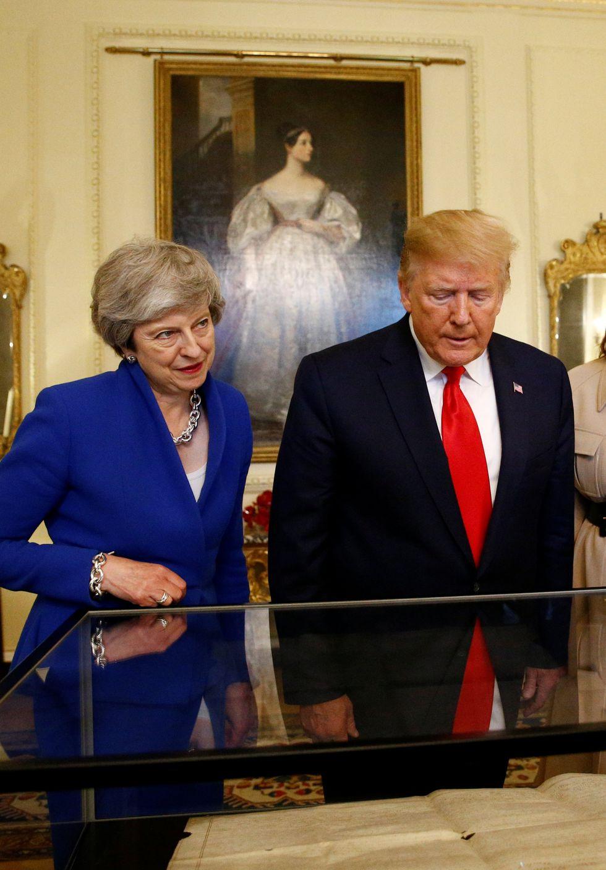 En el encuentro, Donald Trump afirmó que espera que Estados Unidos y el Reino unido lleguen a un acuerdo comercial tras el Brexit. Foto: AFP