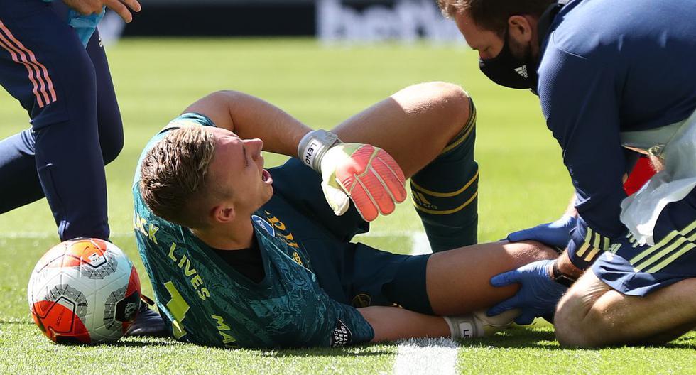 Bernd Leno salió lesionado tras choque con Maupay en Arsenal vs. Brighton. (Foto: AFP / EFE)