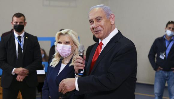 El primer ministro saliente Benjamin Netanyahu durante las elecciones en Israel. (Foto: EFE)