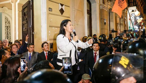 La fiscalía allanó el último jueves dos locales de Fuerza Popular, el partido de Keiko Fujimori. Uno de ellos fue el ubicado en la avenida Paseo Colón. (Foto: Anthony Niño de Guzmán/ El Comercio)