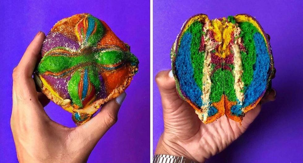 El colorido postre ha sido elaborado con calabaza en tacha, mascarpone, sal de Colima y pepitas horneadas. (Foto: @rainbowbagelss | Instagram)