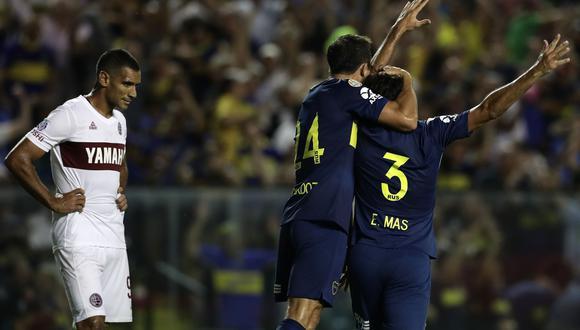 Boca Juniors venció 2-1 a Lanús por la Superliga Argentina. | Foto: AFP