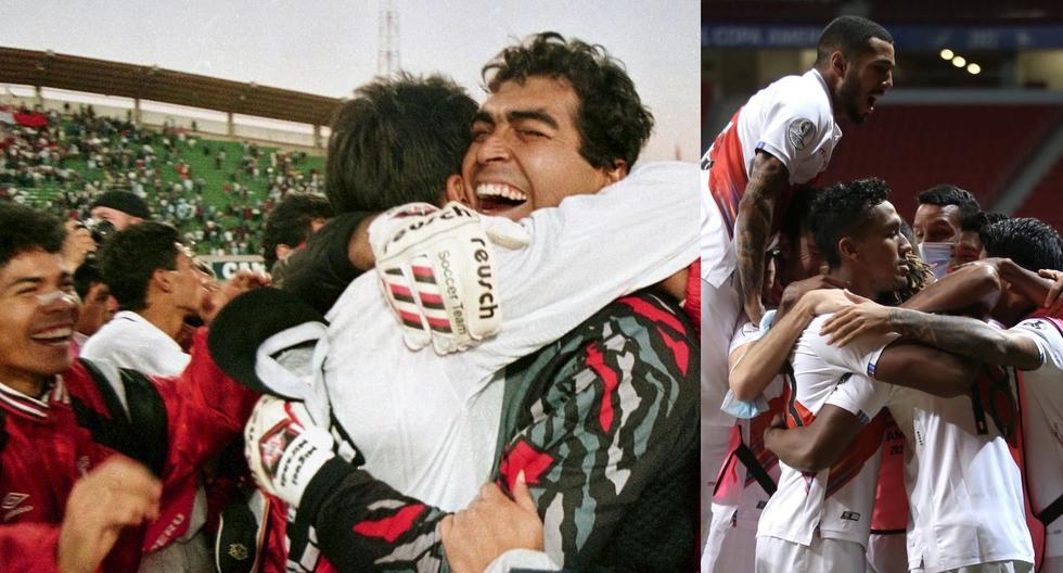 Miranda, uno de los héroes de la Copa América 1997 y la celebración actual. (Fotos: AFP / FPF)