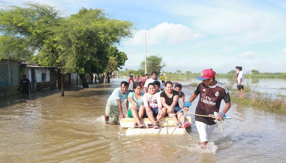 Distrito de Narihuala inundado por el desborde del río Piura. FOTO: LINO CHIPANA / EL COMERCIO