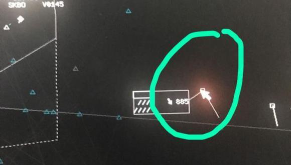 Controladores aéreos señalan que en ocasiones en sus radares aparecen objetos los cuales no pueden identificar. Esta imagen es un archivo suministrado por ellos, en la que indican un supuesto ovni. Foto: Archivo particular, vía El Tiempo de Colombia