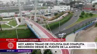 San Isidro: abren tramo de ciclovía que completa el Puente de la Amistad