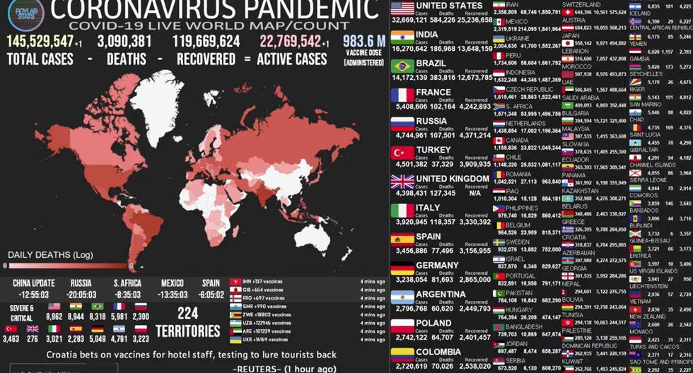 Mapa del coronavirus COVID-19 EN VIVO hoy, domingo 25 de abril del 2021. (Universidad Johns Hopkins).
