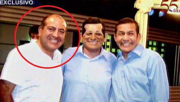 Juan Carlos Rivera Ydrogo fue cercano colaborador del nacionalismo en el 2011. En la foto, se le ve junto al cómico Carlos Álvarez y al entonces candidato Ollanta Humala en la grabación de un sketch. (Captura: Panamericana TV)
