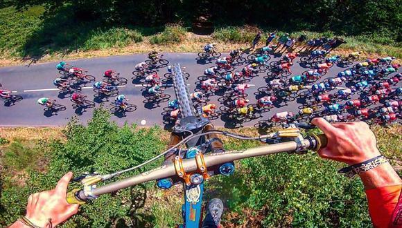 La hazaña fue grabada en video desde distintos ángulos por el temerario ciclista y su equipo. (Foto: @valentin_anouilh en Instagram)