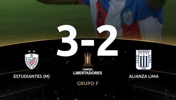 Alianza Lima no sostuvo una ventaja de 2-0 y cayó en tiempo de descuento ante un combativo Estudiantes de Mérida por el Grupo F de la competición. (Foto: Twitter)