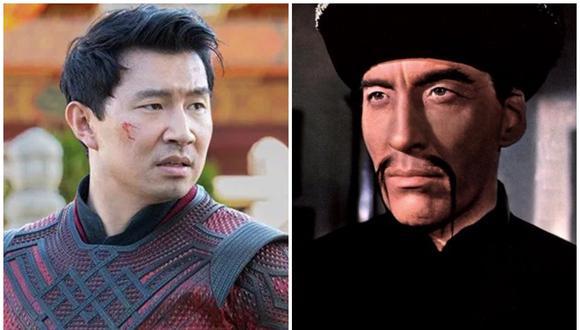 Simu Liu como el héroe Shang-Chi (izquierda), un tipo de personaje muy diferente al malévolo Fu Manchú, en esta ocasión interpretado por Christopher Lee. (Fuente: Marvel Studios/Hallan Productions)