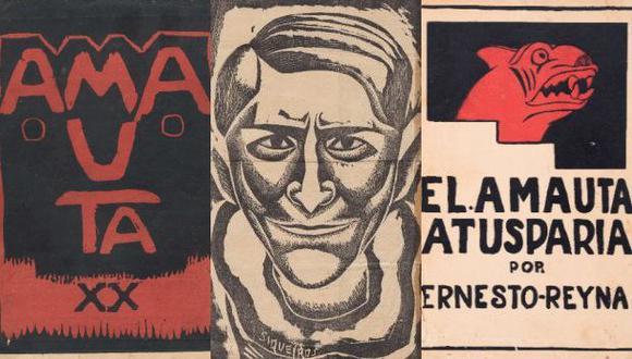 """Izq.: portada de la edición 20 de """"Amauta"""". Centro: Retrato de José Carlos Mariátegui realizado por el mexicano David Alfaro Siqueiros y publicado en la revista """"Grito"""" en 1932. Der.: Portada de """"El Amauta Atusparia"""" (1932), novela de Ernesto Reyna. Diseño de José Sabogal."""