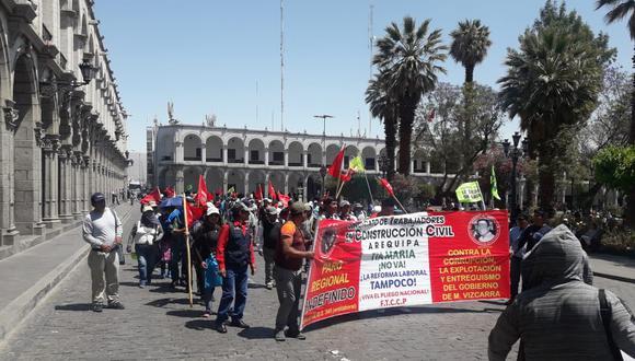 Durante dos días se realizó la movilización contra el proyecto Tía María. No tuvo la cantidad de personas convocadas que se estimaba. (Foto: Zenaida Condori)