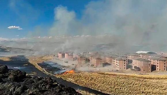 Un grupo de manifestantes quemó la estación de bombeo de agua en la zona y hectáreas de pastizales en los terrenos y alrededores del campamento minero donde funcionan las oficinas de la minera Antapaccay. (Foto: cortesía)