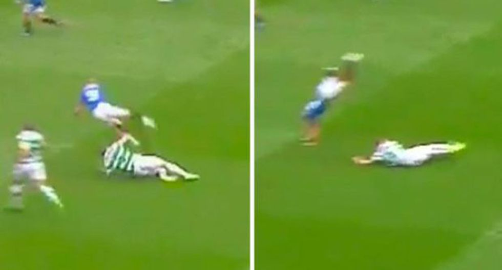 Mandan a 'volar' a futbolista de Celtic con una barrida [VIDEO]