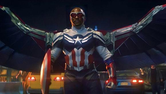 """""""Falcon y el Soldado del Invierno"""". Sam Wilson (Anthony Mackie) en su debut como el nuevo Capitán América. Foto: Marvel Studios."""