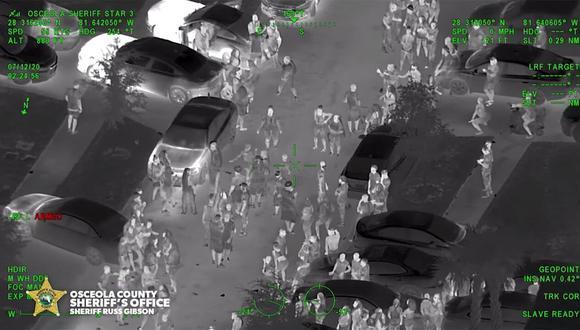 """Captura de video de una supuesta """"Fiesta COVID-19"""" en Florida, Estados Unidos. (bodyworn.com)."""