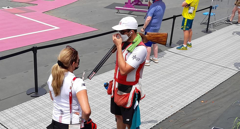 Jessica Galdós ejerció labores de coach con Nicolás Pacheco en la competencia de Tiro en Tokio 2020. (Foto: Christian Cruz/Enviado especial).