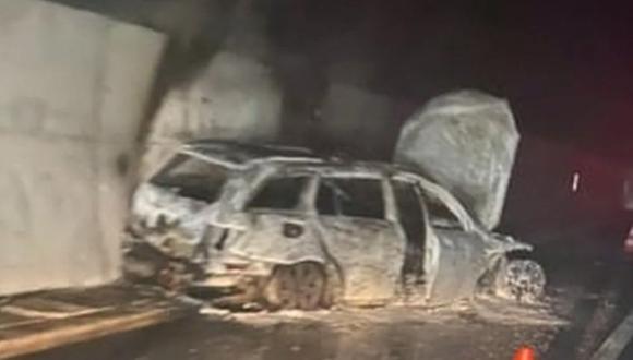 Así quedó el auto incendiado de un árbitro en Bosnia por los hinchas del Velez Mostar | Prensa de Bosnia