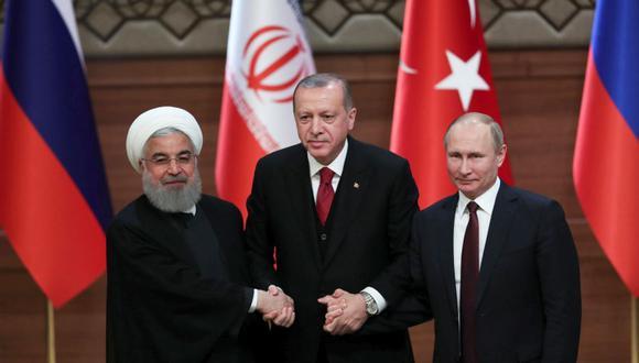 Vladimir Putin, Hasan Rohani y Recep Tayyip Erdogan se reúnen para discutir el futuro de Siria. (Foto: EFE)
